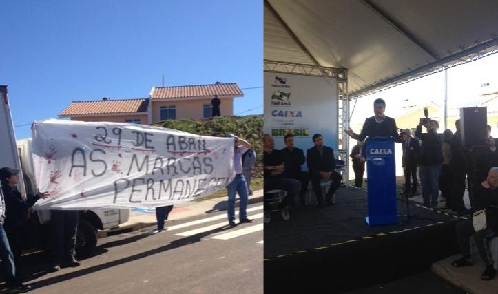 """Durante o discurso de Richa, em Ponta Grossa, professores vaiaram e gritaram """"Fora Beto Richa"""", """"Covarde"""" e """"Traidor da Educação""""."""